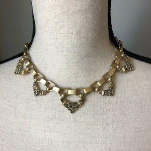 Stella & Dot Gold Metal Choker Necklace Jeweled